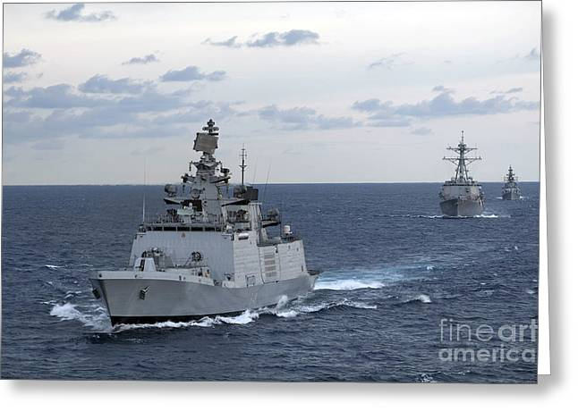 The Indian Navy Frigate Ins Satpura Greeting Card by Stocktrek Images