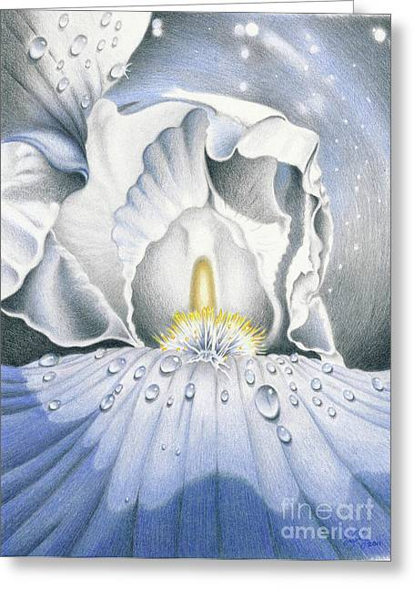 The Iris Universe Greeting Card by Elizabeth Dobbs