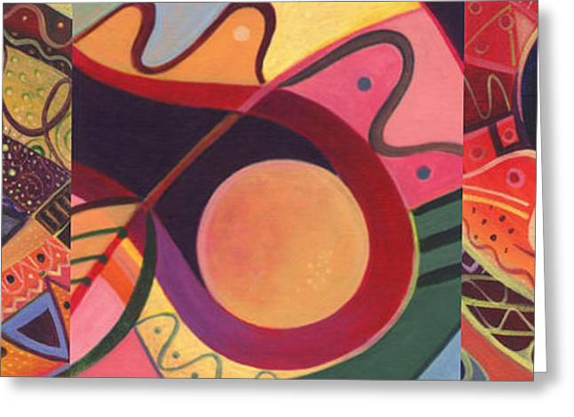 The Joy Of Design Triptych Greeting Card by Helena Tiainen