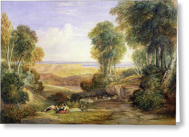 The Junction Of The Severn And The Wye With Chepstow In The Distance Greeting Card by David Cox