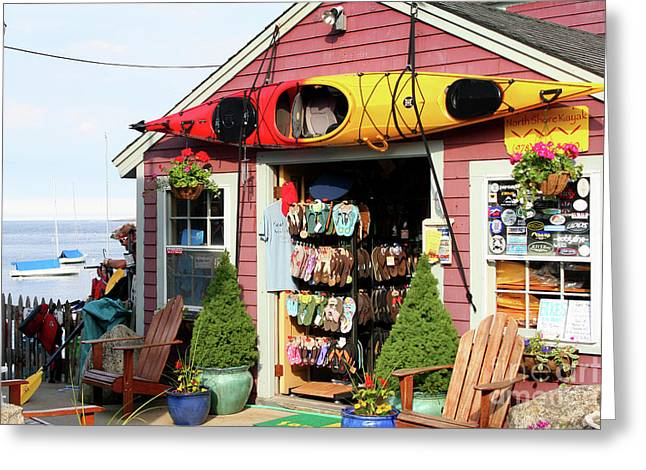 The Kayak Store Greeting Card by Adrian LaRoque