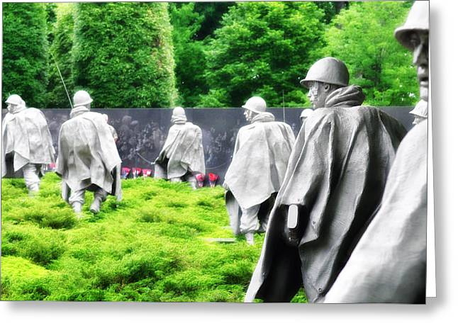 The Korean War Memorial - Washington Greeting Card by Bill Cannon