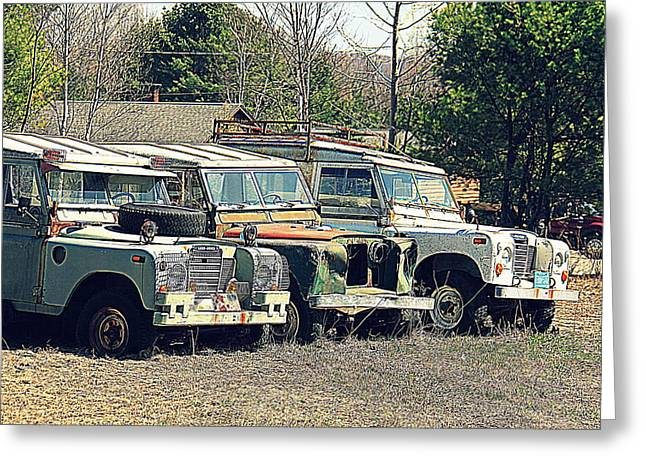The Land Rover Graveyard Greeting Card