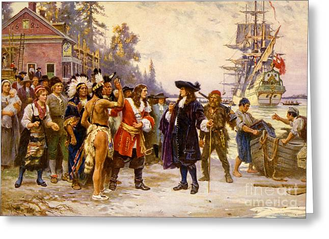 The Landing Of William Penn, 1682 Greeting Card by Photo Researchers