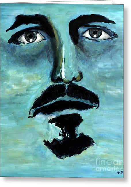 Blue Man In The Sky Surreal Portrait Unique Contemporary Figurative Fine Art Surrealism Decor Print Greeting Card by Marie Christine Belkadi