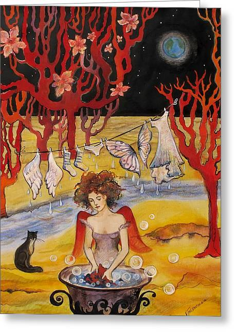 The Laundry Day On The Moon Greeting Card by Valentina Plishchina
