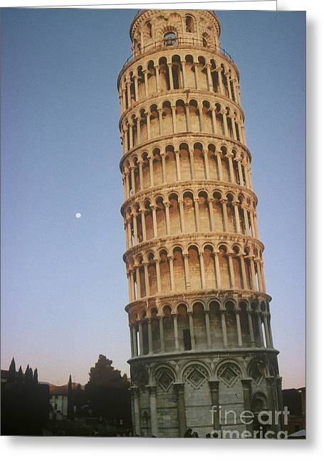 The Leaning Tower Of Pisa With Moon Greeting Card