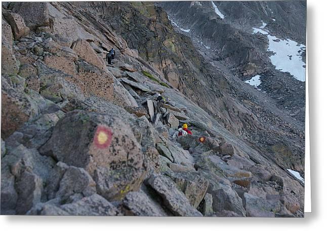 The Ledges On Longs Peak Greeting Card by Cynthia Cox Cottam