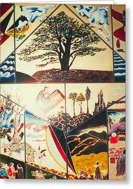 Greeting Card featuring the painting The Legend Of The Cedar Tree by Ray Khalife