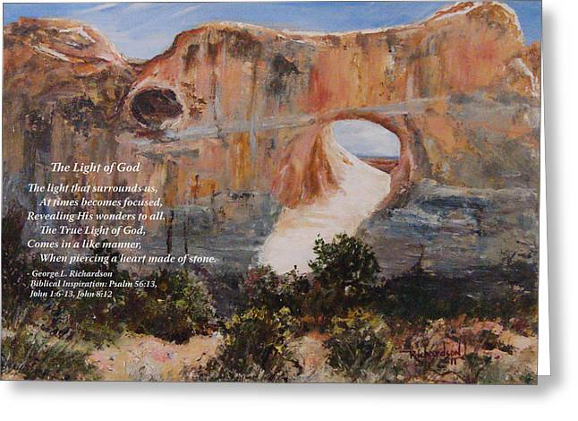 The Light Of God With Poem Greeting Card by George Richardson