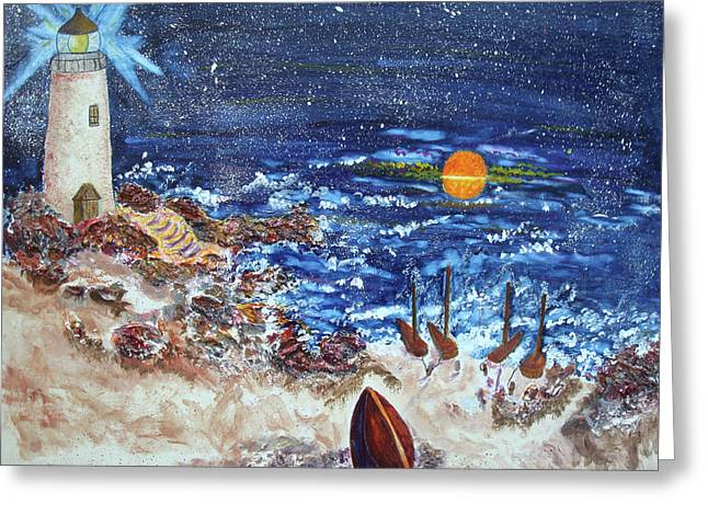 Greeting Card featuring the painting The Lighthouse by Joy Braverman