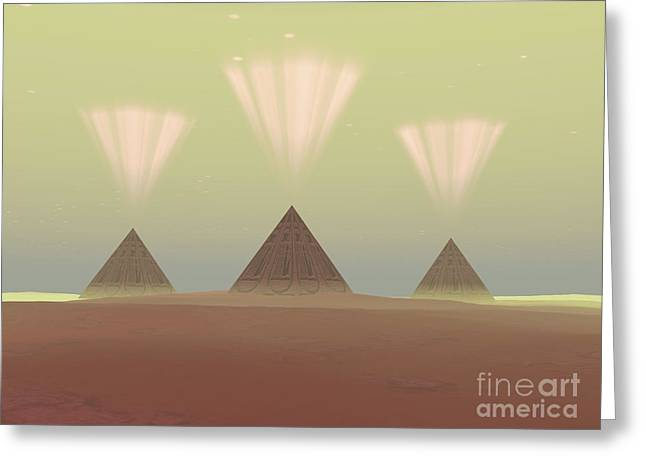 The Lights From Ancient Pyramids Join Greeting Card by Corey Ford