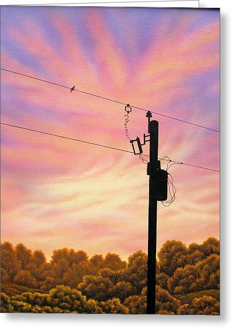 The Lineman Greeting Card by Arley Blankenship