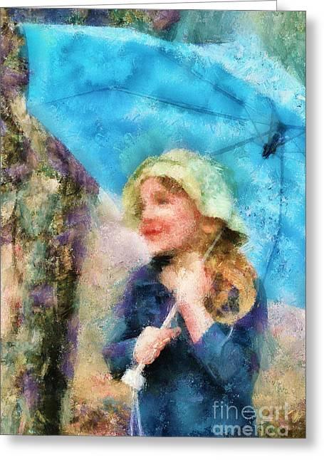 The Little Girl Who Loves Rain Greeting Card
