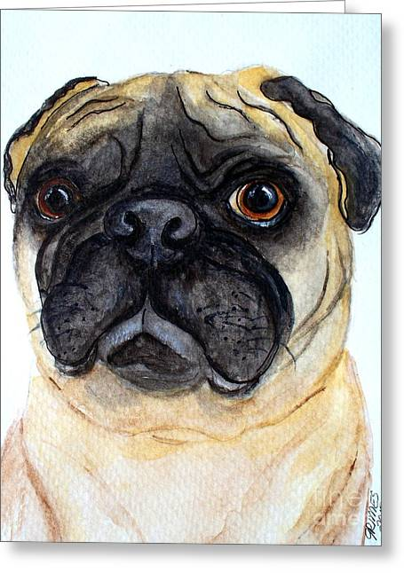 The Little Pug Greeting Card by Carol Grimes