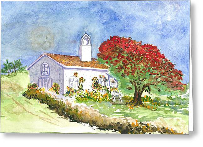 Greeting Card featuring the painting The Little White Church by Joy Braverman