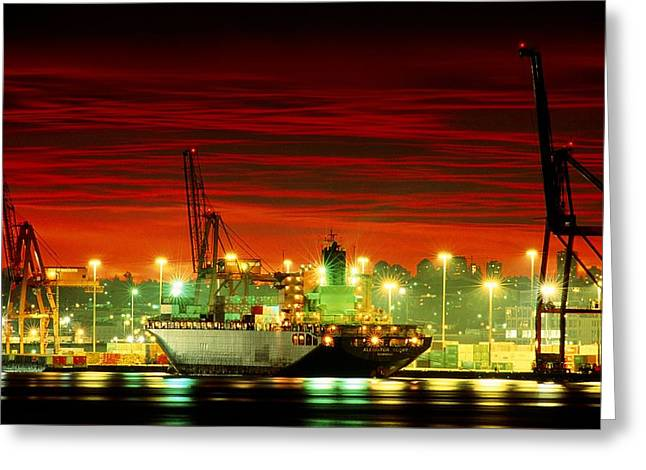The Loading Docks Of Vancouver Port Seen At Sunset Greeting Card by David Nunuk