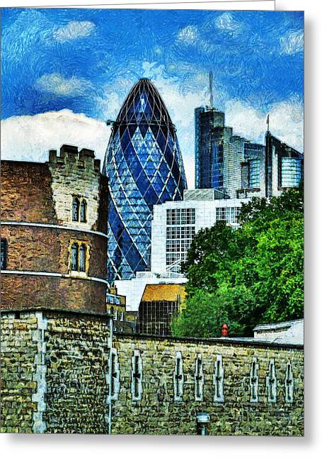 The London Gherkin  Greeting Card by Steve Taylor