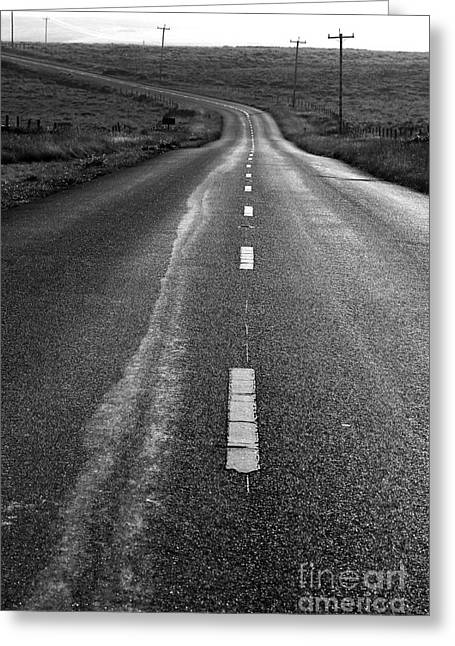 The Long Road Home . 7d9898 . Black And White Greeting Card by Wingsdomain Art and Photography