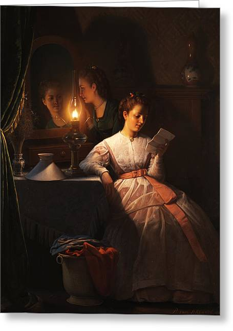 The Love Letter Greeting Card by Petrus van Schendel