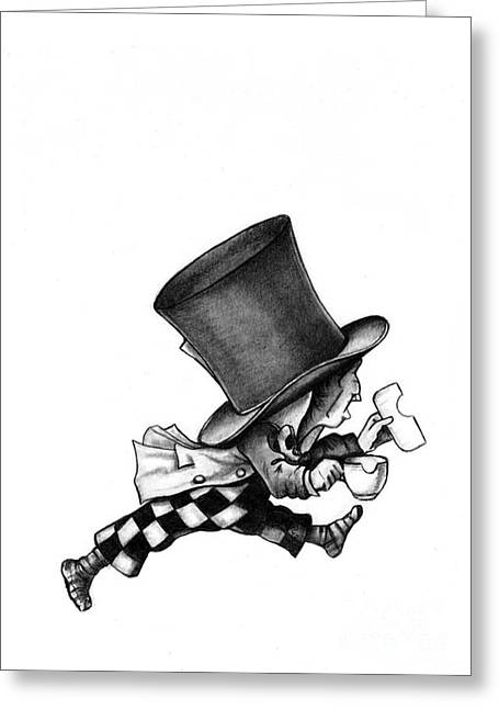The Mad Hatter No 2 Pencil Drawing Greeting Card