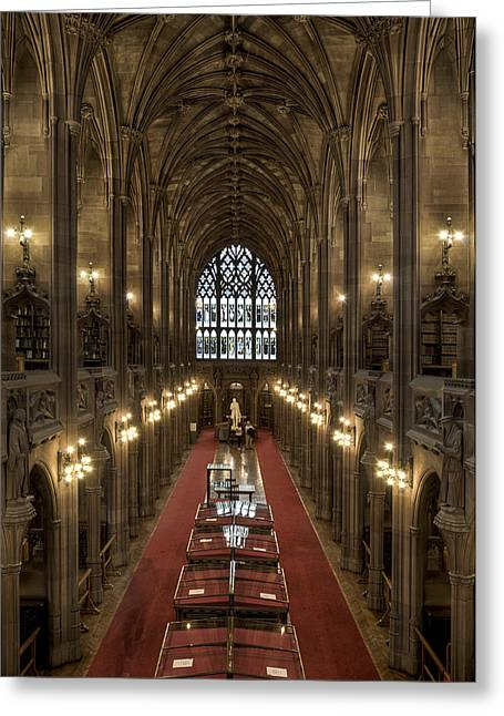 The Main Library Hall Greeting Card by Dave Wood