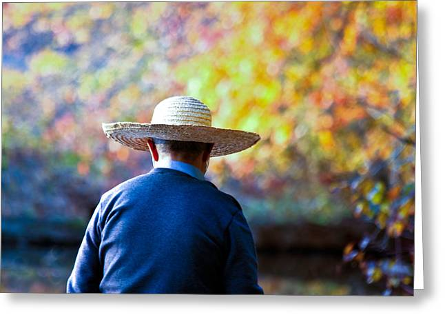 The Man In The Straw Hat Greeting Card