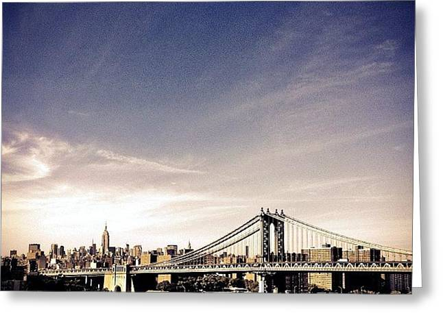 The Manhattan Bridge And New York City Skyline Greeting Card by Vivienne Gucwa