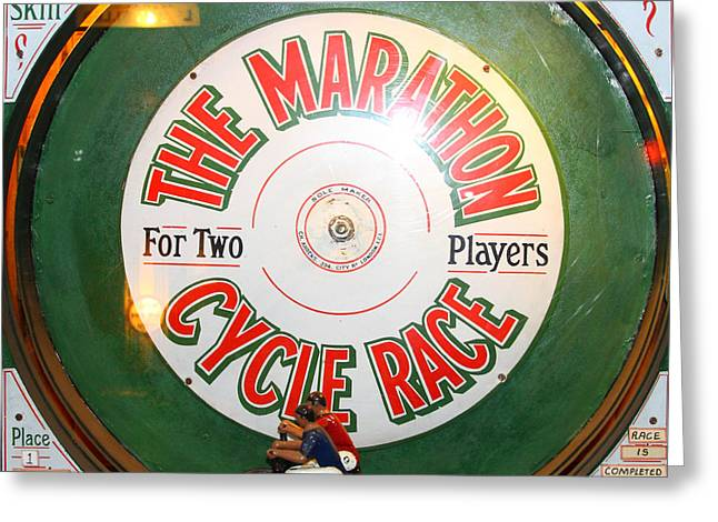 The Marathon Cycle Race At The Musee Mecanique At Fishermans Wharf . San Francisco Ca . 7d14396 Greeting Card by Wingsdomain Art and Photography