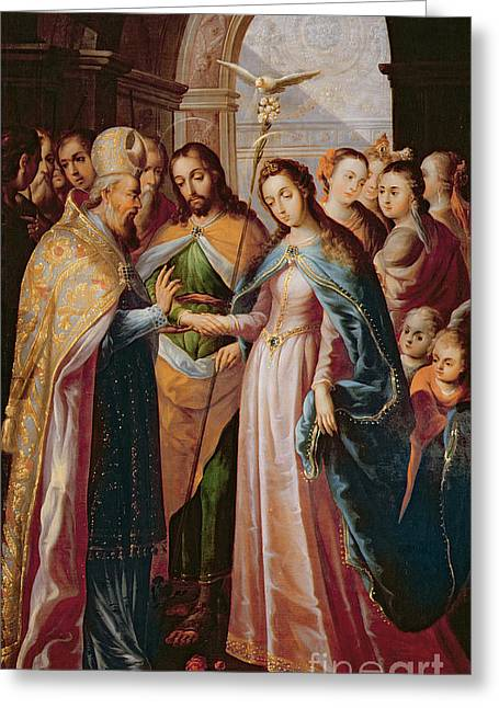 The Marriage Of Mary And Joseph Greeting Card by Mexican School