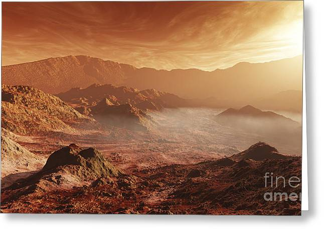The Martian Sun Sets Over The High Greeting Card by Steven Hobbs