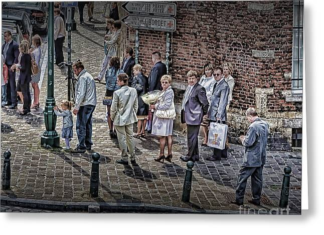 Greeting Card featuring the photograph The Mass-goers Brussels by Jack Torcello