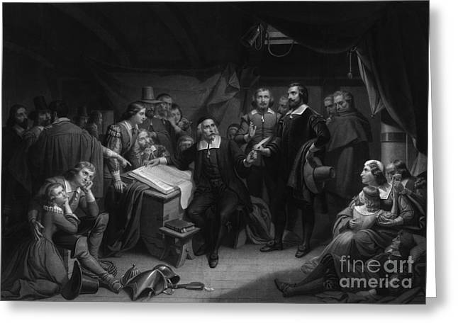 The Mayflower Compact, 1620 Greeting Card by Photo Researchers