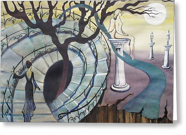 Greeting Card featuring the painting The Maze by Valentina Plishchina