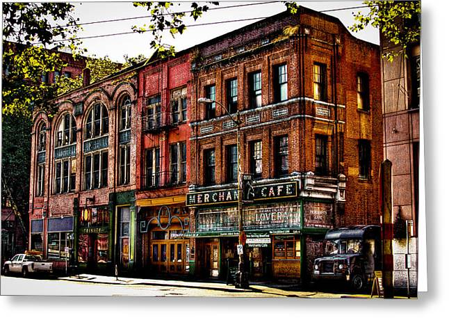 The Merchant Cafe - Seattle Washington Greeting Card by David Patterson