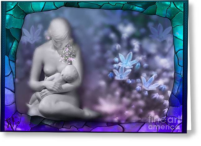 Greeting Card featuring the digital art The Milky Way Garden by Rosa Cobos