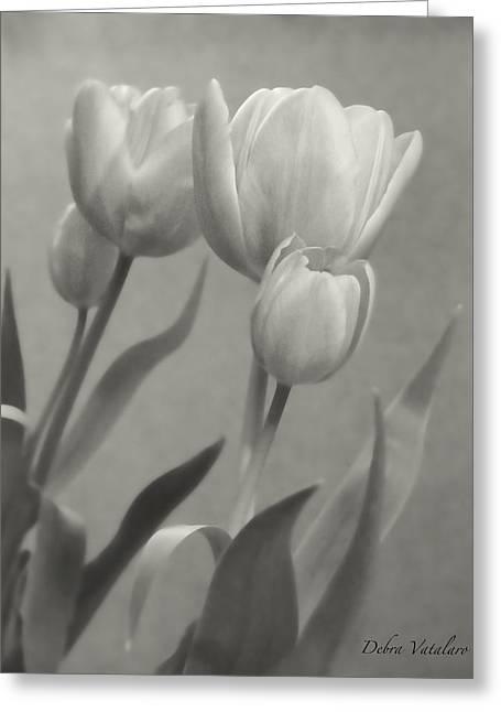 The Mirror Tulips Greeting Card by Debra     Vatalaro