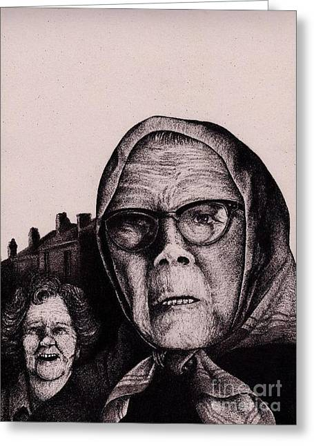 The Mirth Of Beryl And The Peril Of Meryl Greeting Card by Spencer Bower