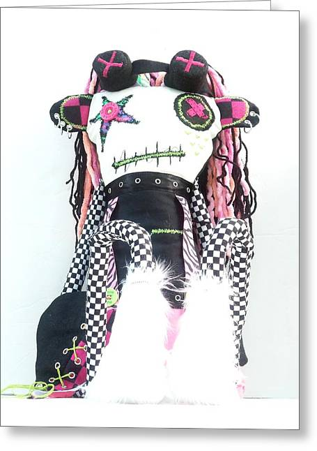 The Misfit Cyberpunk Pussy Cat Jones Version 1.0 Greeting Card by Oddball Art Co by Lizzy Love