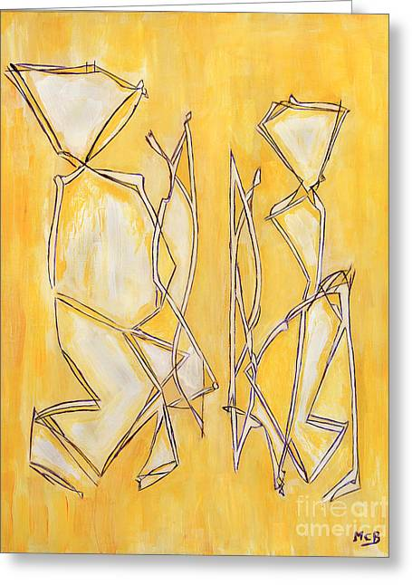 Unique Abstract Art Giclee Canvas Print Original Painting The Couple Decorator Line Art Yellow White Greeting Card by Marie Christine Belkadi
