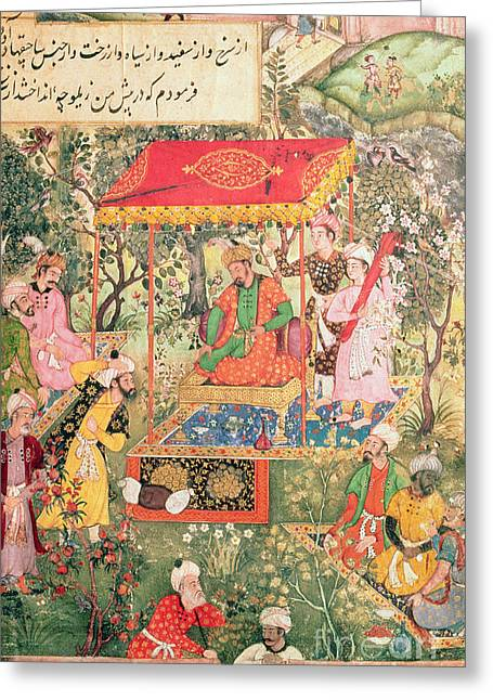 The Mogul Emperor Babur Greeting Card by Indian School