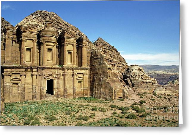 The Monastery Ad Dayr At Petra Greeting Card by Sami Sarkis