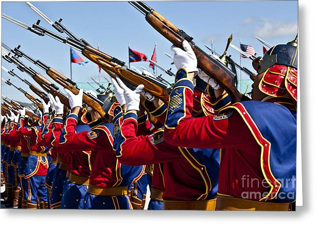 The Mongolian State Honor Guard Greeting Card by Stocktrek Images
