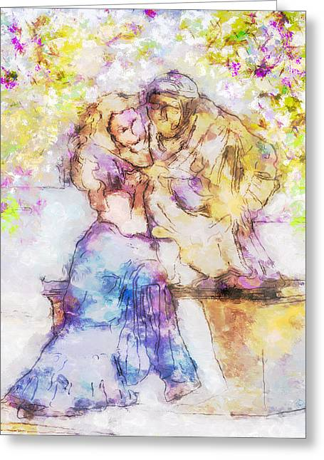 The Monk And The Maiden Greeting Card by Jill Balsam