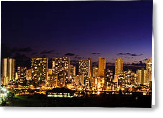 The Moon And Venus Over Honolulu Greeting Card