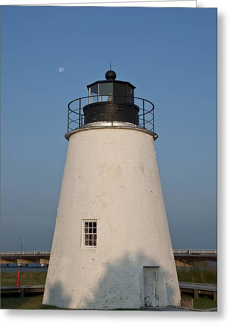 The Moon Behind The Piney Point Lighthouse Greeting Card by Bill Cannon