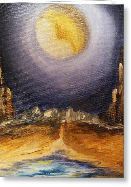 Greeting Card featuring the painting the Moon by Karen  Ferrand Carroll