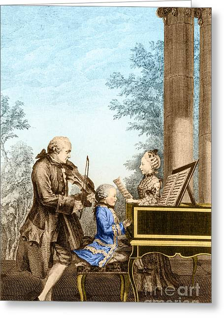 The Mozart Family On Tour 1763 Greeting Card by Photo Researchers