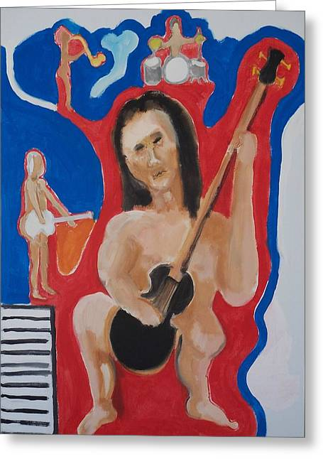 The Naked Bass Greeting Card by Jay Manne-Crusoe
