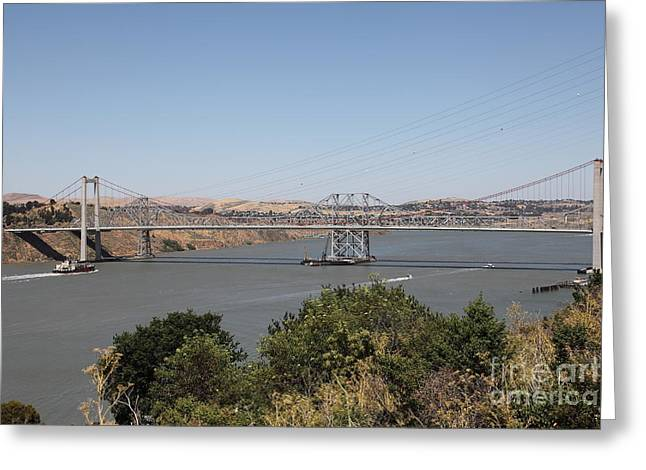 The New Alfred Zampa Memorial Bridge And The Old Carquinez Bridge . 5d16737 Greeting Card